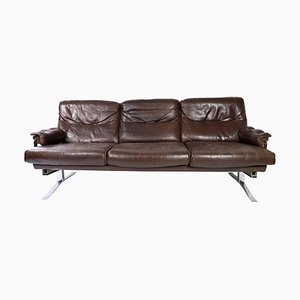 3-Seater Sofa in Patinated Brown Leather by Arne Norell, 1970s