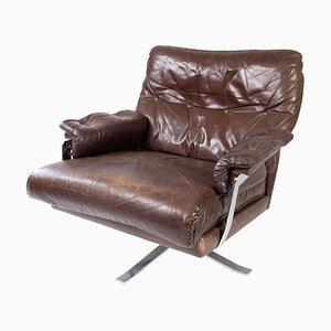 Easy Chair in Patinated Brown Leather by Arne Norell, 1970s