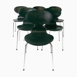 Sedie Ant modello 3101 verde scuro di Arne Jacobsen per Fritz Hansen, anni '60, set di 5