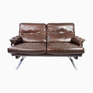 2-Seater Sofa in Patinated Brown Leather by Arne Norell, 1970s