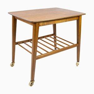 Danish Teak Side Table with Shelf & Wheels, 1960s