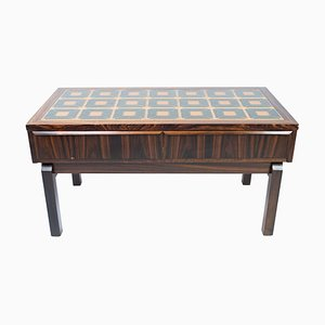Danish Low Chest in Rosewood with Tiles, 1960s
