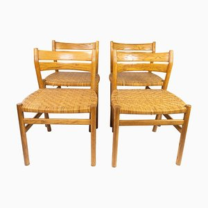 Dining Chairs in Oak with Paper Cord Seats by Børge Mogensen, Set of 4