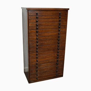 Vintage French Oak Jewelers Cabinet, 1930s