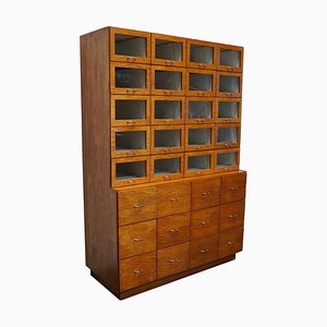 Large Vintage Dutch Oak Haberdashery Shop Cabinet, 1950s