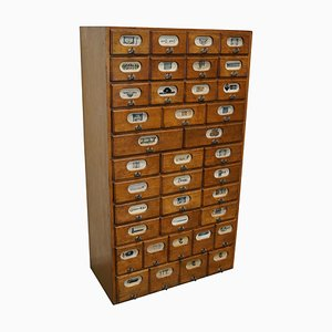 Industrial German Oak and Pine Apothecary Cabinet, Mid-20th-Century