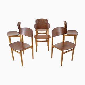 Modell 122 Eichen und Teak Esszimmerstühle von Børge Mogensen für Søborg Møbelfabrik, 1960er, 4er Set
