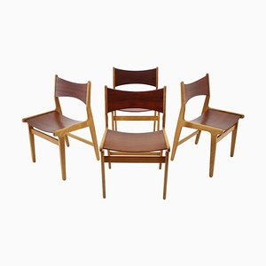 Teak and Beech Dining Chairs, Denmark, 1960s, Set of 4
