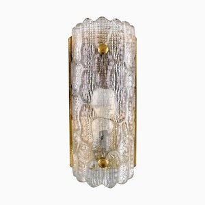 Wall Lamp in Clear Art Glass and Brass by Carl Fagerlund for Orrefors