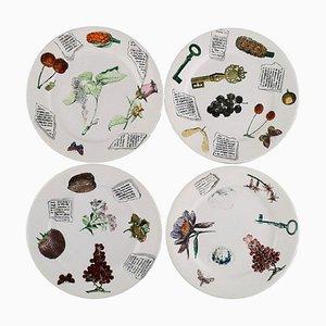 Assiettes en Porcelaine Peinte à la Main de Fornasetti, Milano, 1980s, Set de 4