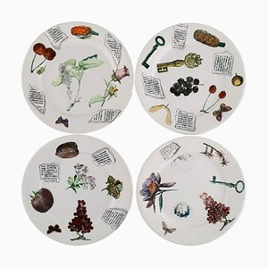 Plates in Hand-Painted Porcelain from Fornasetti, Milano, 1980s, Set of 4