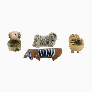 Dogs in Glazed Ceramics by Lisa Larson for Gustavsberg, 1970s, Set of 4