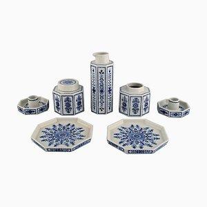 Candlesticks, Dishes, Tea Caddies & Jug from Arabia, Finland, Set of 7