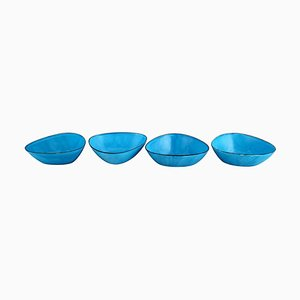 Bowls in Turquoise Enamel from Kockum, Sweden, 1970s, Set of 4