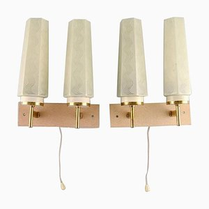 Scandinavian Double Brass Wall Lamps with Glass Shades, Set of 2