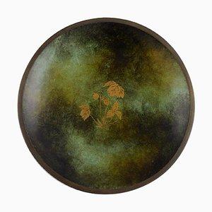 Art Deco Danish Bronze Dish with Gold Decoration, 1940s