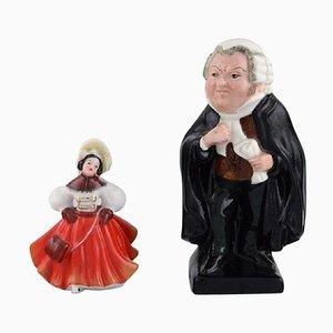 Figurines, Danseur et Juge en Porcelaine de Royal Doulton, Set de 2