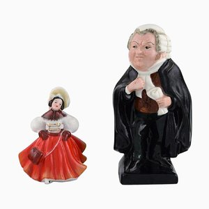 Porcelain Figurines, Dancer and Judge from Royal Doulton, Set of 2