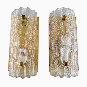 Wall Lamps in Clear Art Glass and Brass by Carl Fagerlund for Orrefors, Set of 2