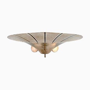 Large Art Deco Ikora Bowl in Plated Silver Inlaid with Brass from WMF, Germany