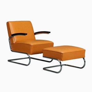 S411 Sessel & Fußhocker von Thonet, 2er Set
