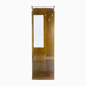 Vintage Wooden and Brass Hallway Stand, 1960s