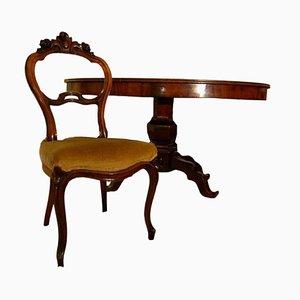 Table Ovale et Chaises en Acajou, Set de 4