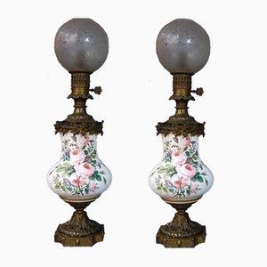 Grandes Lampes à Huile en Bronze et Faïence, Set de 2