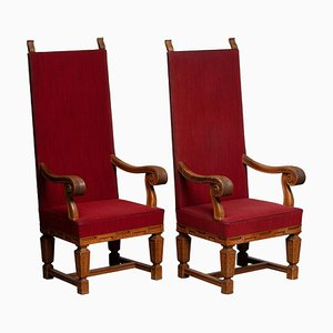 Tall Crafts Throne Chairs in Carved Oak Wood, Sweden, 1950s, Set of 2