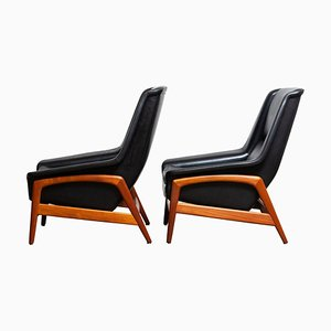 Leather and Teak Lounge Chairs by Folke Ohlsson for Dux, 1960s, Set of 2