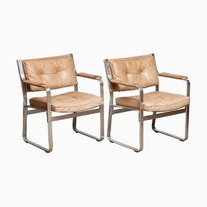 Aluminum Mondo Armchairs in Beige Taupe Leather by Karl Erik Ekselius Joc, Set of 2