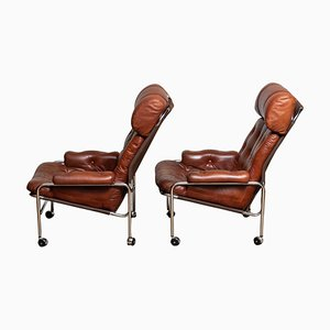 Easy / Armchairs in Chrome and Brown Leather by Lindlöfs, 1960s, Set of 2