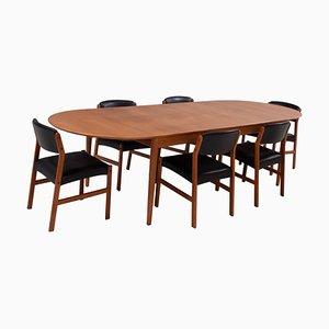 Table de Salle à Manger 227 Mid-Century à Rallonge par Arne Vodder pour Sibast, Set de 7