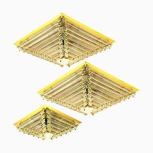 Gold-Plated Piramide Venini Style Flush Mounts, 1970s, Italy, Set of 3