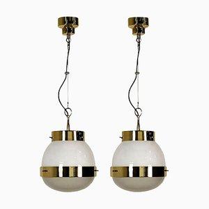 Lampes à Suspension en Verre et Laiton par Sergio Mazza pour Artemide, 1960s, Set de 2