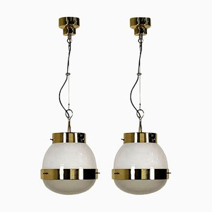 Pendant Lights in Glass and Brass by Sergio Mazza for Artemide, 1960s, Set of 2