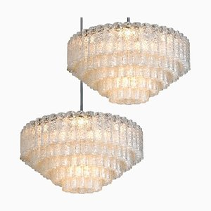 Ballroom Chandeliers with Blown Glass Tubes from Doria, Set of 2