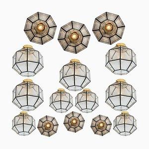 Deckenlampen aus Eisen und Klarglas von Limburg, 1970er