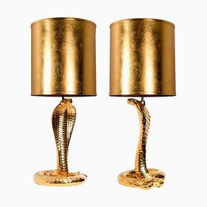 Cobra Table Lamps in Ceramic by Tommaso Barbi, 1960s, Set of 2