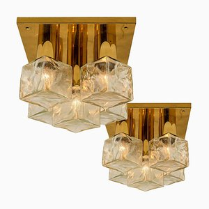Flush Mount Light or Sconce in Brass and Ice Glass from Kalmar, 1970s