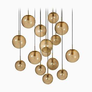 Große kugelförmige Lampe aus Rauchglas von Glashütte Limburg