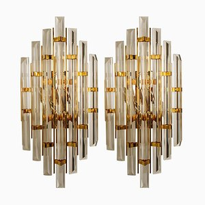 Large Venini Style Murano Glass and Gold-Plated Sconces, Italy, Set of 2