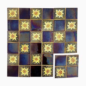 Panel of 9 Glazed Art Deco Relief Tiles by S. A. Des Pavillions, 1930s, Set of 9