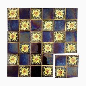 Panneau de 9 Carreaux en Relief Art Déco par SA Des Pavillions, 1930s, Set de 9