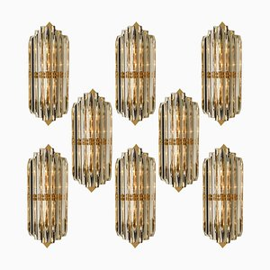 Venini Style Murano Glass and Gilt Brass Sconces, Italy
