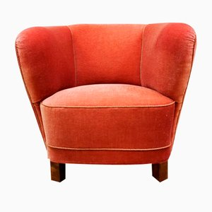 Danish Mid-Century Curved PInk Lady Banana Chair