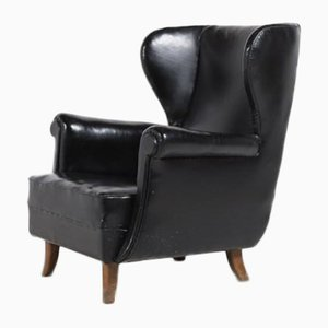 Danish Architectural Wingback Lounge Chair, 1950s