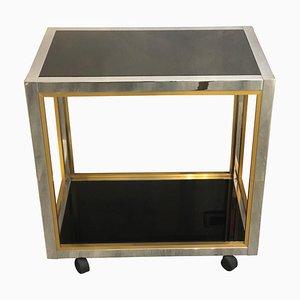 Brass and Chromed Steel Black Crystal Shelves on Wheels by Romeo Rega