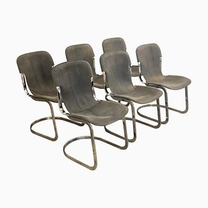 C2 Chromed Steel Frame and Leather Chairs by Willy Rizzo, Set of 6