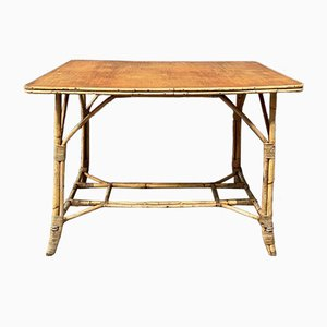 Bamboo Patio Table with Wooden Top